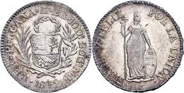 2 Reales, 1842, Lima, MB, KM 141.3, Ss-vz.  Ss-vz - Peru
