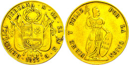 4 Escudos, Gold, 1853, MB Lima, KM 150.2, Fb. 64, Randfehler, Ss.  Ss - Peru