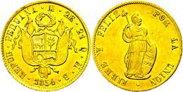 2 Escudos, Gold, 1854, Lima, MB, KM 150.3, Fb. 65, Ss-vz.  Ss-vz - Peru