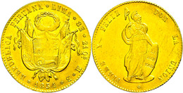 8 Escudos, Gold, 1854, MB Lima, KM 148.4, Fb. 62, Ss-vz.  Ss-vz - Peru