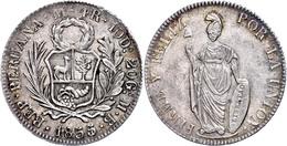 4 Reales, 1855 (geändert Aus 1854), Lima, MB, KM 151.3, Randfehler, F. Vz. Mit Unterlegzettel Der Firma Spick & Son, Lon - Peru