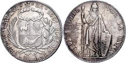 8 Reales, 1855, MB Lima, KM 142.10a, Leicht Berieben, Vz.  Vz - Peru
