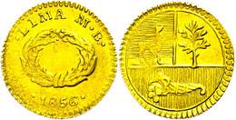 1/2 Escudo, Gold, 1856, Lima, MB, KM 146.1, Leichte Prägeschwäche, Vz.  Vz - Peru