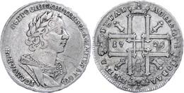 Rubel, 1725, Peter I., Moskau, Dav. 1662, Schrötlingsfehler, Ss.  Ss - Russland
