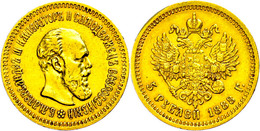 5 Rubel, Gold, 1888, Alexander III., St. Petersburg, Fb. 168, Wz. Rf., Ss.  Ss - Russland