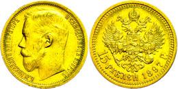 15 Rubel, Gold, 1897, Nikolaus II., Fb. 177, Ss-vz.  Ss-vz - Russland