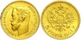 5 Rubel, Gold, 1901, Nikolaus II., Sankt Petersburg, Fb. 180, Ss-vz.  Ss-vz - Russland