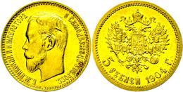 5 Rubel, Gold, 1904, Nikolaus II., Fb. 179, Etwas Berieben, Ss-vz.  Ss-vz - Russland