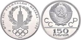 150 Rubel, Platin, 1977, Olympia-Emblem, KM 152, In Kapsel, PP.  PP - Russland