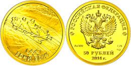 50 Rubel, 2014, Gold, Winterolympiade Sotschi - Viererbob, Mit Zertifikat In Ausgabeetui Und OVP, PP.  PP - Russland