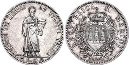 5 Lire, 1898, Dav. 302, Wz. Rf., Ss-vz  Ss-vz - San Marino