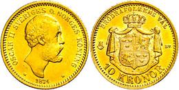 10 Kronen, Gold, 1876, Oskar II., Fb. 94, Ss-vz.  Ss-vz - Schweden