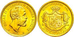 20 Kronen, Gold, 1876, Oskar II., Fb. 93, Kl. Rf., Vz-st.  Ss-vz - Schweden