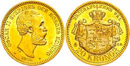 20 Kronen, Gold, 1898, Oskar II., Fb. 93, Wz. Kr., Vz-st.  Vz-st - Schweden