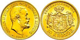 10 Kronen, Gold, 1901, Oskar II., Fb. 94b, Vz-st.  Vz-st - Schweden