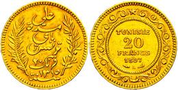 20 Francs, Gold, 1897, Ali Bei, Fb. 12, Kl. Rf., Ss.  Ss - Tunesië