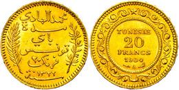 20 Francs, Gold, 1904, Ali Bei, Fb. 12, Kl. Rf., Ss-vz.  Ss-vz - Tunesië