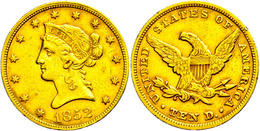 10 Dollars, Gold, 1852, Philadelphia, Fb. 155, Kl. Rf., Ss.  Ss - United States