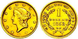 1 Dollar, Gold, 1853, Philadelphia, Kl. Rf., Ss.  Ss - United States