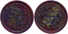 1/2 Cent, 1856, Kupfer, KM 70, Kl. Rf, Kl. Kratzer Auf Dem Avers, Ss-vz.  Ss-vz - United States