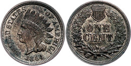1 Cent, 1864, Kupfer, Indianer Kopf KM 90a., Kl. Rf., Vz-st  Vz-st - United States