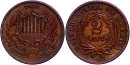 2 Cents 1864, Kupfer, Large Motto, KM 94, Leichte Prägeschwäche, Vz.  Vz - United States