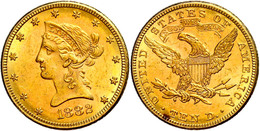 10 Dollars, Gold, 1882, Philadelphia, Fb. 158, Kratzer, Fleck Auf Revers, Ss  Ss - United States