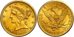 5 Dollars, Gold, 1886, San Francisco, Kl. Rf., Fb. 145, Ss.  Ss - United States