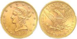 10 Dollars, Gold, 1894, Liberty Head, Philadelphia, Fb. 158, In Slab Der PCGS Mit Der Bewertung MS62. - United States