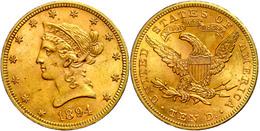 10 Dollars, Gold, 1894, Liberty Head, Philadelphia, Fb. 158, Kl. Rf., Ss-vz  Ss-vz - United States