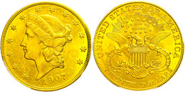 20 Dollars, Gold, 1907, Philadelphia, Fb. 177, In Slab Der PCGS Mit Der Bewertung Cleaned-UNC Detail. - United States