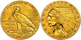 2 1/2 Dollars, Gold, 1908, Indian Head, Philadelphia, Fb. 120, Kl. Rf., Ss.  Ss - United States
