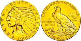 5 Dollars, Gold, 1908, Indian Head, Denver, Fb. 148, Ss-vz.  Ss-vz - United States