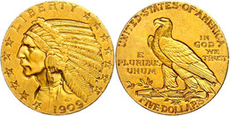 5 Dollars, Gold, 1909, Philadelphia, Indian Head, Fb. 148, Vz  Ss-vz - United States