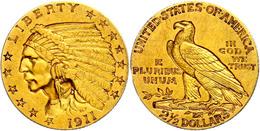 2 1/2 Dollars, Gold, 1911, Philadelphia, Indian Head, Kl. Rf., Fb. 120, F. Vz - United States