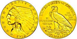 2 1/2 Dollars, Gold, 1912, Indian Head, Philadelphia, Fb. 120, Ss-vz.  Ss-vz - United States