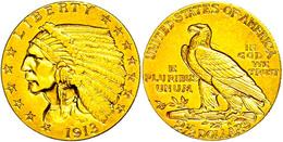 2 1/2 Dollars, Gold, 1913, Indian Head, Philadelphia, Fb. 120, Ss-vz.  Ss-vz - United States