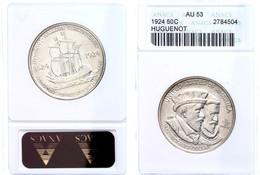 1/2 Dollar, 1924, Caspar De Coligny Und Wilhelm I Von Oranien, In Slab Mit ANACS Bewertung AU 53, KM 154. - United States