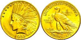 10 Dollars, Gold, 1932, Indian Head, Philadelphia, Fb. 166, Randfehler, Vz.  Vz - United States