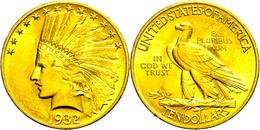 10 Dollars, Gold, 1932, Indian Head, Philadelphia, Fb. 166, Kl. Rf., Vz.  Vz - United States