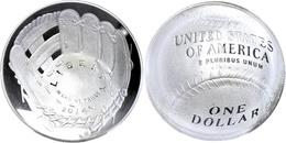 1 Dollar, 2014, P, Baseball Hall Of Fame, In Slab Der PCGS Mit Der Bewertung PR70DCAM, First Strike, Cassie McFarland La - United States