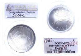 Dollar, 2014, P, Baseball Hall Of Fame, In Slab Der PCGS Mit Der Bewertung MS70, First Strike, Cassie McFarland Label. - United States