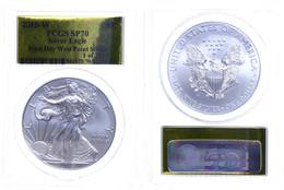 1 Dollar, 2015, W, Silver Eagle, In Slab Der PCGS Mit Der Bewertung SP70, First Day West Point Strike, Gold Foil Label L - United States