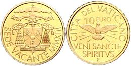 10 Euro Gold, 2013, Sede Vacante, Fb. 468, In Kapsel, In Originalschatulle Mit Zertifikat Und Umverpackung, PP. Auflage  - Vaticaanstad