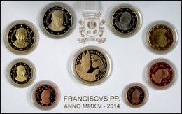 1 Cent Bis 2 Euro, 2014, Euro KMS Mit 50 Euro Gold, 13,74 G Fein, Fb. 478, Papst Franziskus, Alle Münzen In Kapsel, In O - Vatican