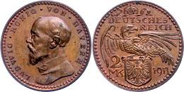 Bayern, 2 Mark, Kupfer, 1913, Ludwig III., Schaaf 51G1, Vz-st.  Vz-st - Münzen