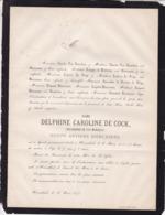 HERENTALS Delphine DE COCK Veuve Joseph Antoine DIERCXSENS 1873 71 Ans Famille POUPPEZ De HOLLAEKEN - Obituary Notices
