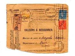 Devant De Lettre Recommandée à Recouvrer Flamme Caen Numero Arrondissement + Bazoche - Marcofilia (sobres)