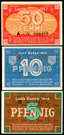Baden, Staatsschuldenverwaltung, 1947, 5, 10 Und 50 Pfennig, Ro. 208 B, 209d Und 210, 50 Pfennig Mit Kleinem Einriss Obe - [ 9] Duitse Bezette Gebieden