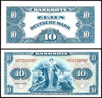 10 Deutsche Mark, Banknote, 1948, H 5232666F, Ro. 238, Erhaltung I-II., Katalog: Ro.238 I-II - [ 7] 1949-… : RFA - Rep. Fed. Tedesca